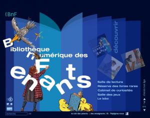 Capture d'écran de la page d'accueil du site web de la bibliothèque numérique des enfants de la BNF