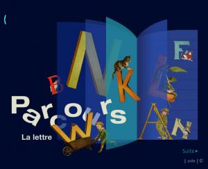 Capture d'écran de la section «À la découverte des lettres» du site web de la bibliothèque numérique des enfants de la BNF